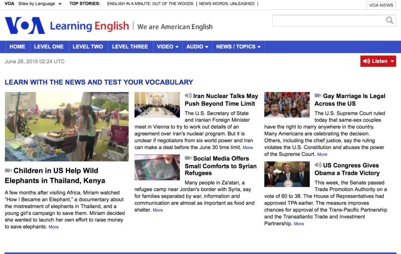これが Voice of Americaのトップページです!面白そうなニュースを見つけて、記事を読んでみてください!コツは、本文で!