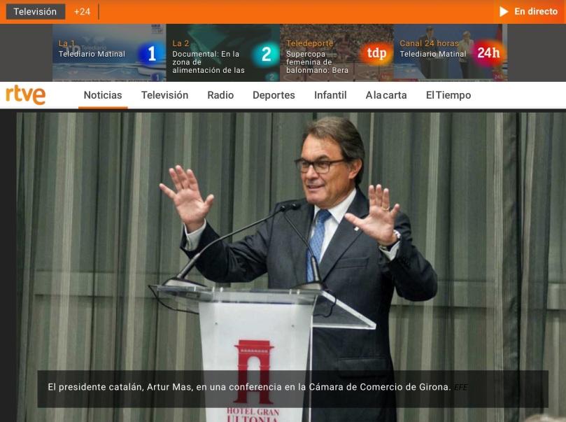 「アルトゥーr ・マス・カタルーニャ州知事、ヒロナ県の商業会議所での記者会見で (スペイン通信社EFE) 」という意味です!
